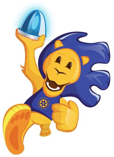 Egy rajzolt oroszlán, aki futás közben a feltartott jobb mancsában egy kéklámpát fog. Kék sörénye és kék színű pólója van, rajta az Alapítvány emblémájával.